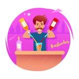 barman Vecteur cartoon illustration de vecteur