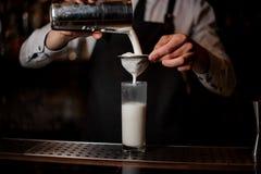 Barman versant la boisson alcoolisée du dispositif trembleur en acier Photographie stock libre de droits