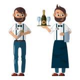 Barman w mundurze w dwa spojrzeniach: w fartuchu, z tac? i w cajgi z potrz?saczem ilustracja wektor