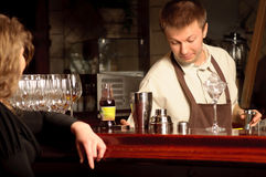 A barman at work Stock Photos