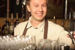 A barman at work Stock Image