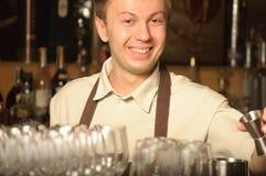 A barman at work stock image