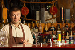 Barman at work - indoors Stock Images
