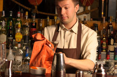 Barman at work - indoors Royalty Free Stock Photography