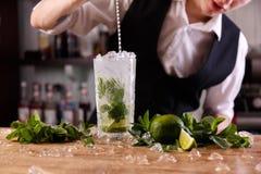Barman z świeżym mojito zdjęcie stock