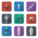 Barmen equipment icons set Royalty Free Stock Photos