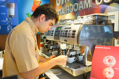 Barmen prepare coffee Stock Images