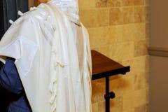 Barmitzvah reading Torah scrolls. Near Bar Mitzva in the Jewish Torah Stock Photography