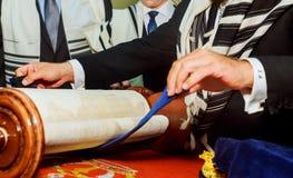 Barmitzvah reading Torah scrolls Holy city of Jerusalem on Holiday. Of 13th birthday of jew Royalty Free Stock Photo