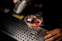 Barmixer, der Campari-Alkohol vom Schüttel-Apparat in das Cocktailglas gießt Stockfotos