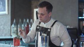Barmixer, der Cocktail macht und verziert Stockbilder