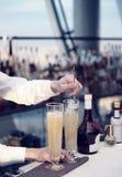 Barmixer rührt ein Cocktail Stockfotografie