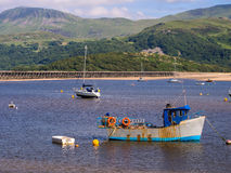 Barmouth Bay in Snowdonia National Park, Wales. Scenic view of Barmouth Bay in the estuary of the Mawddach river, against the mountain backdrop of Snowdonia Royalty Free Stock Image