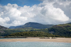 Barmouth Bridge on the Mawddach estuary Royalty Free Stock Image