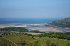 Barmouth sandy beach viewed from the hills above Royalty Free Stock Photos