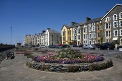 Barmouth Seafront with flower beds in bloom Stock Photo