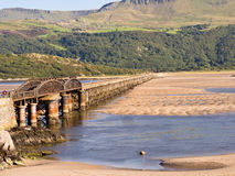 Barmouth铁路桥, Snowdonia,威尔士 图库摄影