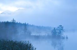 Barmsee and mounrains in morning fog Stock Images