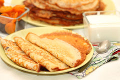 Barmy pancakes. With cottage cheese and dried fruits for Maslennitsu's holiday royalty free stock photos