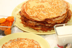 Barmy pancakes. With cottage cheese and dried fruits for Maslennitsu's holiday Stock Photos