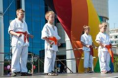 Barn är förlovade i Taekwondo royaltyfri foto