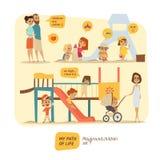 Barn är lyckliga på lekplatsen stock illustrationer