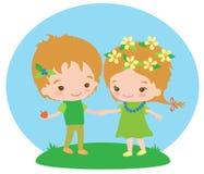 Barn är vänner med naturen Fotografering för Bildbyråer