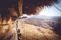 Barn 2. A view from inside a rustic and deserted barn, situated on top of the Bedeleu mountains Royalty Free Stock Photo