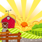 Barn. Illustration of landscape barn on meadow Stock Image