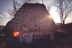 Barn 4. A rustic and deserted barn, situated on top of the Bedeleu mountains, blocking the sun light Stock Photos