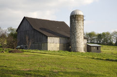 Barn. With Silo Stock Image