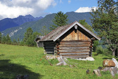 Barn in the alps Stock Photo