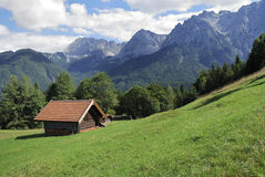 Barn in the alps Stock Photography