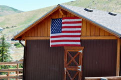 Barn with American flag Stock Photo