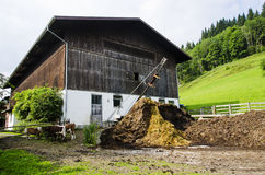 Barn in austrian farm Royalty Free Stock Image