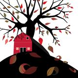 Barn in Autumn. Red barn showered in autumn leaves, white background,  illustration Royalty Free Stock Images