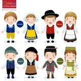 Barn av världen (Sverige, Norge, Island och Litauen) stock illustrationer