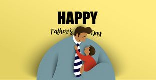 barn avlar hans Lyckligt fader dagkort ocks? vektor f?r coreldrawillustration