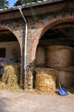 Barn with bales of hay Royalty Free Stock Images
