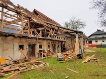 Barn being in state of demolishing Royalty Free Stock Image