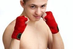 Barn bemannar teen boxning Royaltyfri Foto
