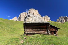Barn beneath Dolomites Stock Images