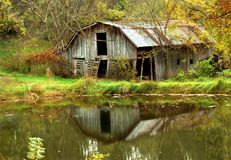Barn Besides Pond stock photo