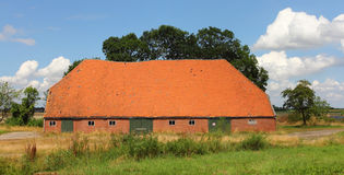Barn. Big agricultural building, blue sky in background Royalty Free Stock Photography