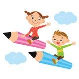 Barn blyertspenna Royaltyfri Bild