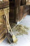 Barn ,broom ,shovel. Close up of farm equipment / barn broom shovel stock images