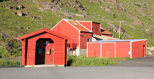 Barn and bus stop  of Lofoten Stock Photo