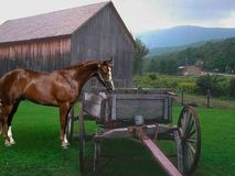 Barn and cart Royalty Free Stock Images