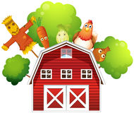 A barn with a chicken and fruits at the back Royalty Free Stock Image