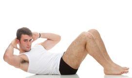 Barn danar sportmanen, kondition sommuskeln modellerar grabben övar isolat Arkivfoton